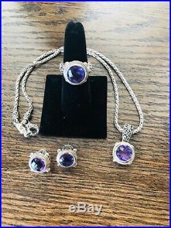 EFFY Amethyst 18k, SS, Ring, Pendant, Earrings set