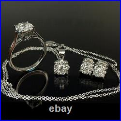 EFFY BH 14k Diamond Halo White Gold Ring Pendant Earrings Set with 18 Necklace