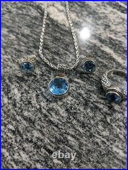 EFFY Pendant & 18 Chain, Matching Earrings, and Ring 925 750 BH 18k and Silver