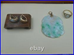 ESTATE LOT 14k 585 gold carved jade pendant 14k jade earrings 10k opal ring