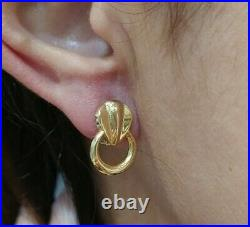 Earrings Gold 18k. All Gold With Ring Pendant