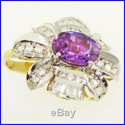Elegant 14K Yellow Gold Amethyst Diamond Flower Ring Earring Pendant Jewelry Set