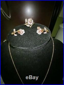 Enchanted Disney Belle Diamond Rose Pendant, Earrings And Ring 10k Rose Gold