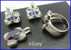 Estate 14k Lab Created Blue Sapphire & Diamond Set Of Earring, Pendant & Ring