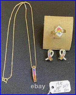 Estate 14k rainbow Saphire Diamond Necklace Pendant Earrings Ring Set Pride