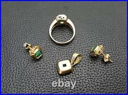 Estate 3.80ct+ Colombian Green Emerald Ring Earrings Pendant Set 18k