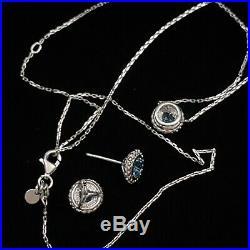 Estate Sterling & 18k Phillip Gavriel Popcorn Halo Topaz Necklace & Earring Set