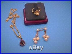 Estate finds jewelry 14k chain 3.7 grams garnet pendant scrap pearl ring earring
