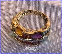French 14k Dia, Topaz, Garnet, Citrin, Amethyst Set Of Ring, Earrings, Pendant