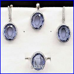 Full set ring earrings pendant amethyst silver 925