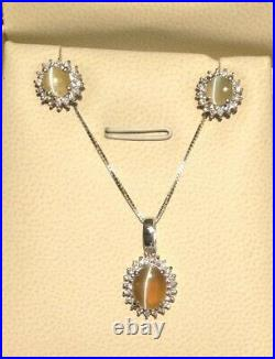 Genuine Cat's Eye Chrysoberyl Fine Jewelry Set Pendant And Ear Rings 750 WithGold