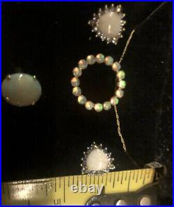 Genuine Opal Earings, Necklace W Pendant And Opal Ring All Set In Solid Gold