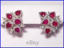 Genuine ruby set(Ring, Earrings & Pendant), diamonds, solid 18k white gold