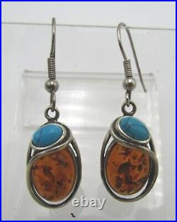 Golden Amber and Blue Turquoise. 925 Sterling Silver Pendant, Earrings and Ring