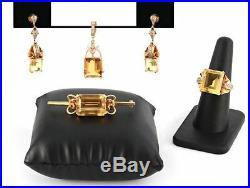 Gorgeous 18K Rose Gold 40 Carat Citine Suite Earring Ring Pin & Pendant