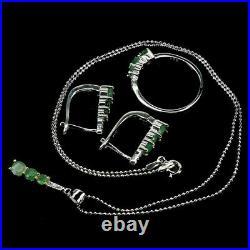 Green Emerald Pendant Earring Ring Sterling Silver Genuine Gems Size N US 6.75