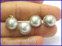 Grey Pearls & Diamond Set Ring/Earrings/Pendant 14Kt. 70Ct 12.6mm