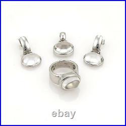 H. Stern 18k White Gold & Rock Crystal Ring, Pendant & Earring Set Size 6.5