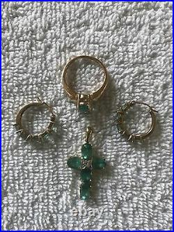 HSN QVC 14K YG Oval Apatite Hoop Earrings Round Diamond Cross Pendant Ring 7 Lot