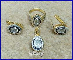 Handmade Rose Cut Polki Diamond 925 Silver Ring Pendant And Earring Jewelry Set
