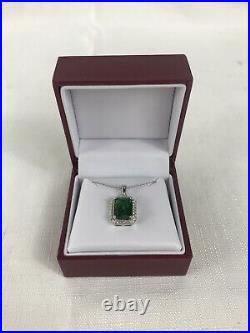 Helzberg Diamonds Halo Style Radiant Emerald Pendant And Earrings $200 Retail