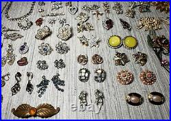 Huge Vintage Jewelry Lot Lots of Rhinestones! See all pics Many Signed