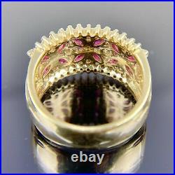 INCREDIBLE EFFY BH Diamond & Ruby 14k Yellow Gold Ring, Earrings, & Pendant Set