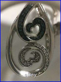 Jane Seymour Open Heart Sterling Blue White Wave Teardrop Diamond Ear Rings. 925