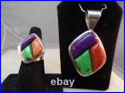 Jay King DTR sterling Silver 925 Multi color ring, Earrings & pendant size 7