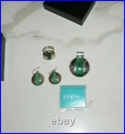 Jay King Mine Finds Sterling Silver & Malachite Pendant Earrings & Ring