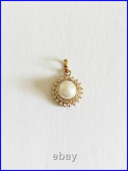 Jewelry set of Earring, Pendant, and Pearl Ring 14K Solid Yellow Gold O8