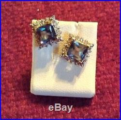 LONDON BLUE TOPAZ in GOLD w DIAMONDS RING, PENDANT & EARRINGS, VERY FINE SET