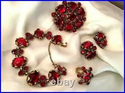 LOT Hollycraft Jelly Red Cabochon Bracelet Earrings Pendant/Pin Ring Set S57