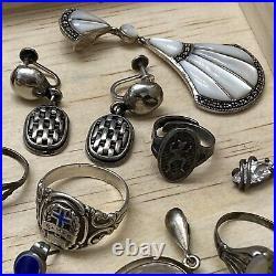 LOT OF Vintage STERLING Silver PENDANTS charms Earrings Rings ESTATE