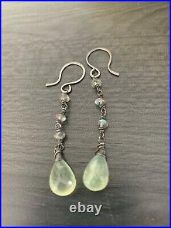 Labradorite & Prehnite Sterling Lot 2 Pendants, 2 Earrings, Rosecut Ring, New