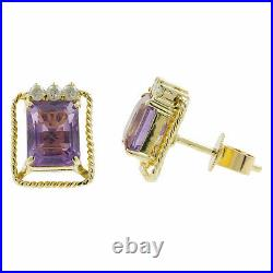 Ladies Estate 14K Yellow Gold Diamond Amethyst Ring Earrings Pendant Jewelry Set