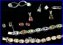 Large Jewelry Lot ALL STERLING SILVER Rings Tennis Bracelets Pendants Earrings
