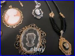 Large VINTAGE COSTUME CAMEO JEWELRY LOT BROOCHES RINGS PENDANTS EARRINGS