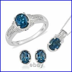 London Blue Topaz Earrings, Ring (Sz 7) Pendant Sterling Silver 4.84 ctw