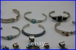 Lot Of 34 Navajo Jewelry Including 7 Pairs Of Earrings, 13 Rings, 6 Pendants, Etc