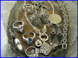 Lot of 11 Vintage Sterling Silver Art Deco Marcasite RING EARRING Resale Jewelry