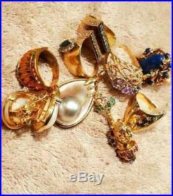 Lot of 18k an 14k Solid Gold Rings, Earrings, Pendant Wear or Scrap 120Grams