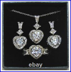Lot of 40 Sets Women's Diamontiara Forever Love CZ Pendant Earrings & Ring # 6