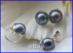 Luster Natural 19mm Blue Mabe Pearl Earrings Pendant Rings set 925sivler #f1734