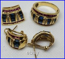 Matching Set Of 14k Yellow Gold Omega Earrings, Pendant, & Ring With Diamonds Ruby