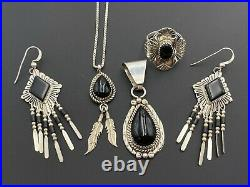 Native American 925 Sterling Silver Black Oynx Pendant Necklace Earring Ring Lot