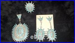 Native American Zuni Needlepoint Turquoise Pendant Ring Earrings Set Sterling S