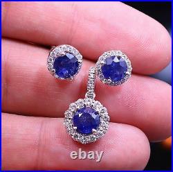 Natural Blue Sapphire Diamond Halo Stud Gemstone Earrings Pendant 14K WHITE GOLD