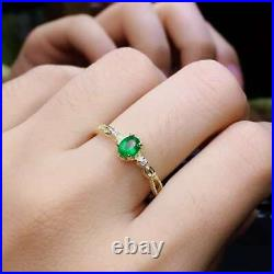 Natural Colombian Emerald Pendant Ring Earrings 925 Silver Gold Plated Set