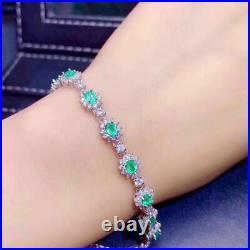 Natural Colombian Emerald Ring Pendant Earrings Bracelet 925 Silver Set Gift